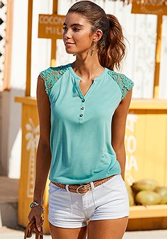 Lace Detail Top product image (X33261.MINT.1)