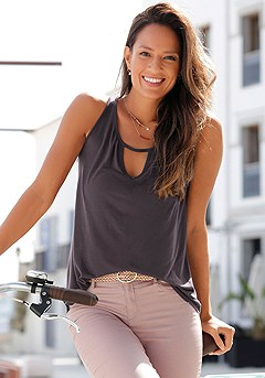 Sleeveless Keyhole Top product image (X33285.DG_1)