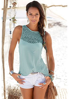Lace Insert Tank Top, Casual Shorts product image (X33288MINT_1)