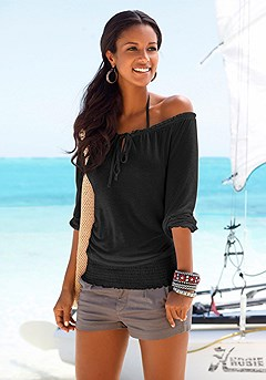 Off Shoulder Carmen Top, Casual Cuff Shorts product image (X34005_BK)