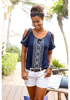 Cold Shoulder Print Top product image (X34018_BLMU_00)