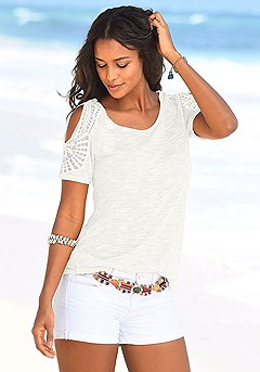 Crocheted Cold Shoulder Top product image (X34023-CR)