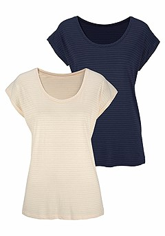 2 Pk Short Sleeve Tops product image (X34098.NVWH.03)