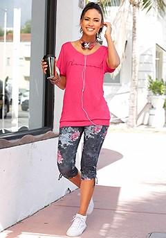 Casual Short Sleeve Top, Floral Print Capri Pants product image (X34108.FS.X38045.BKPR.04)