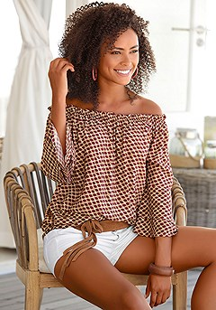 Printed Off Shoulder Top product image (X34116-BYMU-0000-S)