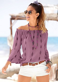 Printed Off Shoulder Top product image (X34116-PUMU-00)