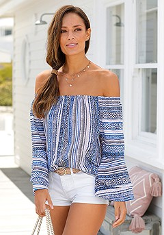Printed Off Shoulder Top product image (X34116NVPR_1.P)