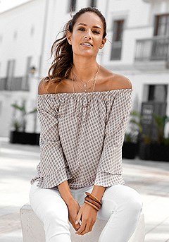 Printed Off Shoulder Top product image (X34116TPMU.P)