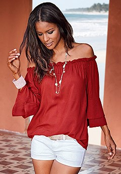 Flowy Carmen Top product image (X34124-RD-00-S)