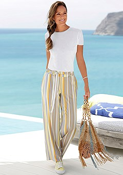 Striped Tie Waist Pants product image (X34134.X38183.K)