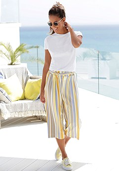 Striped Tie Waist Culottes product image (X34134.X38184.K)