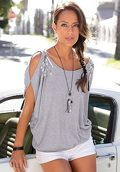 Sequin Cold Shoulder Top product image (X34136-GYMO-001)