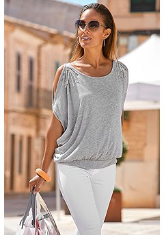 Loose Cold Shoulder Top product image (X34136-GYMO)