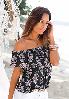 Floral Off Shoulder Top product image (X34138-BKMU-00)