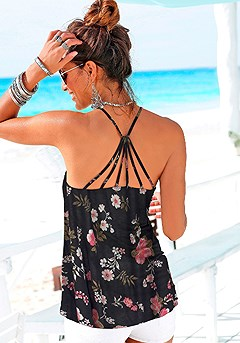 Strappy Back Floral Tank Top product image (X34140-BKMU-01)