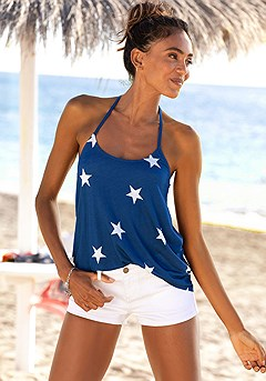 Strappy Back Tank Top, Casual Shorts product image (X34140.BLMU_X37012WHMU_1)
