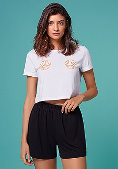 Mermaid Shell Crop Top product image (X34142-wh.21-S-K)