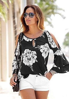 Floral Cold Shoulder Top product image (X34143-BKWH-00)