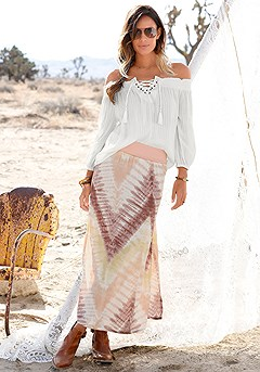 Lace Up Carmen Blouse, Boho Print Maxi Skirt product image (X34146-CR-00-S)