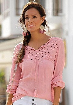 Boho Eyelet Blouse, Floral Print Jeggings product image (X34157.MV.1)