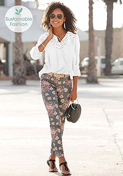 Floral Print Jeggings product image (X34157.WH.X38062.BKPR.X60018.BK.1)