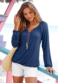 Tie Neck Boho Top product image (X34159-NV-00-S)