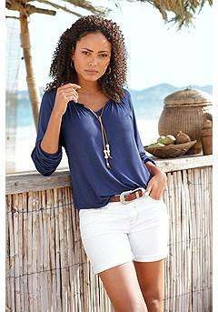 Cuffed Denim Shorts product image (X34159NV_X37001WH_1.2)