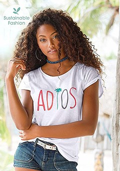 Graphic Short Sleeve Top product image (X34162-WH-00)