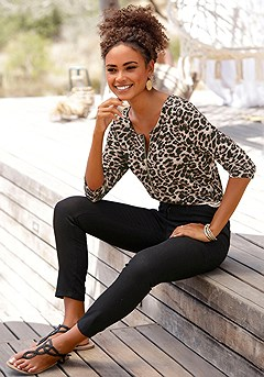Leopard Zip Detail Top, Slim-Fit Pants product image (X34166-LE-04)