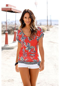 Print V-Neck Top product image (X34167-RDPR-00)