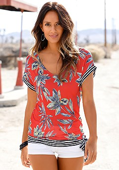 Print V-Neck Top product image (X34167-RDPR-000-S)