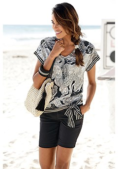 Print V-Neck Top product image (X34167BRMU_X37001BK_1)