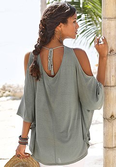 Flowy Cold Shoulder Top product image (X34168-KH-01)
