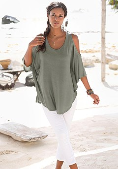 Cold Shoulder Batwing Sleeve Top product image (X34168-KH-05)