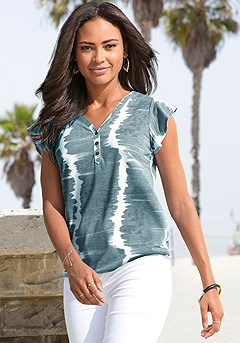Tie Dye Look Top product image (X34394.TEAL-S)