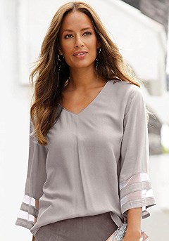 Mesh Trim Blouse product image (X34402.GY.1)