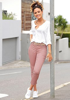 Skinny Leg Cropped Pants, Button Up Blouse product image (X34404.WH.X38041.MVBR_1)