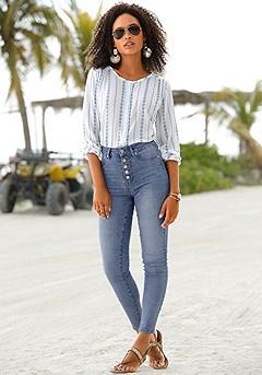 Round Neckline Button Up Top, High Waisted Denim Jeans product image (X34404BLST.X38172.)