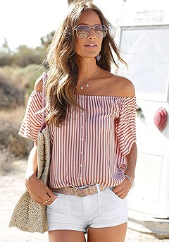 Striped Butterfly Sleeve Top product image (X34406RDST-S)
