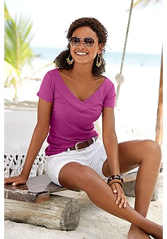 Ribbed V-Neck Top product image (X34411PK__)