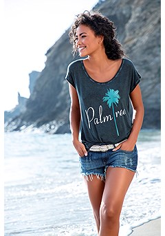 Palm Tree Print Top product image (X34420BLPA)