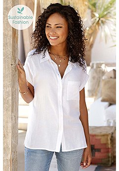 Short Sleeve Button Up Top product image (X34421.WH.10)