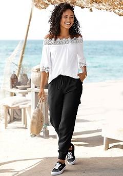 Lace Accent Carmen Top, Drawstring Waist Pants product image (X34425.WH.X38013.BK)