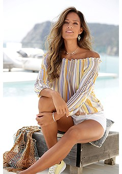 Multi Stripe Carmen Top product image (X34428YLMU_1)