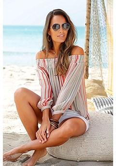 Smocked Stripe Carmen Top product image (X34431BWST_1)