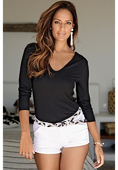 Strappy Back Long Sleeve Top product image (X34438BK)