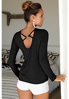Strappy Back Long Sleeve Top product image (X34438BK_2)