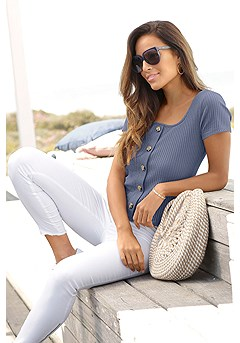 Ribbed Button Up Top product image (X34452SMBL_1.1)