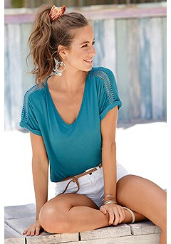 Crochet Insert V-Neck Top product image (X34454TEAL_1)