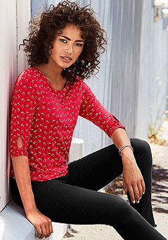 2 Pk Floral 3/4 Sleeve Tops product image (X34463RDGY_8)